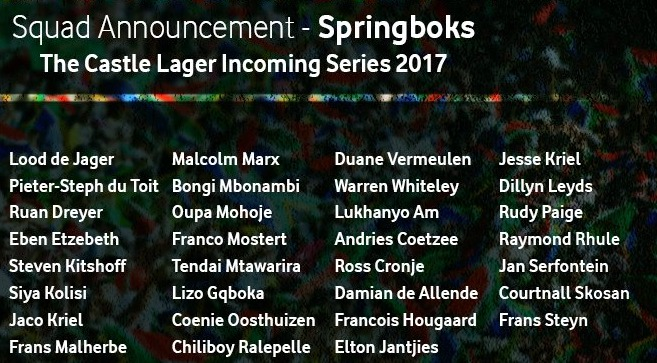 Springbok Squad vs France 2017