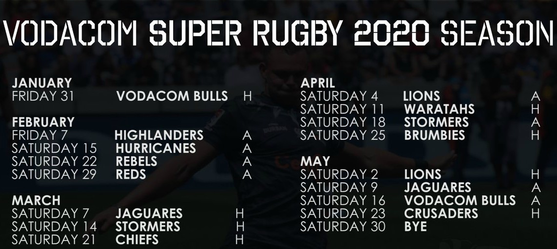2020 Sharks Super Rugby Fixtures