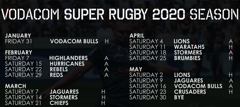 2020 Sharks Super Rugby Fixtures