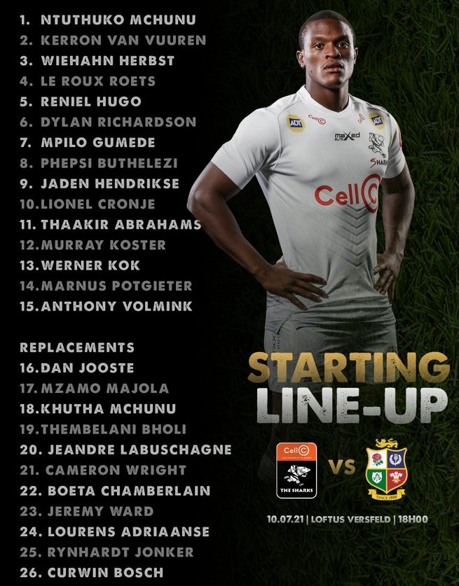 Sharks starting lineup for second game vs Lions 2021